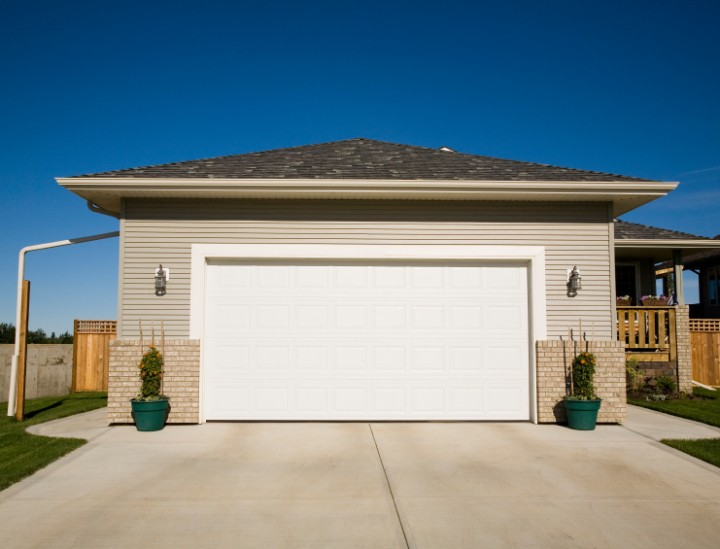 Garage view of a new house